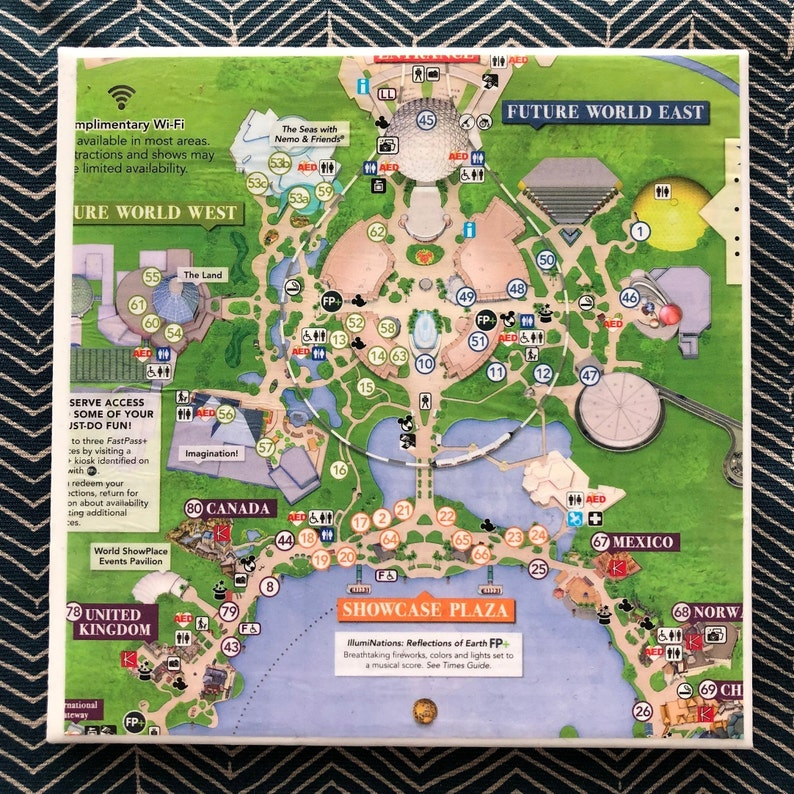 Disney Collection Epcot Map Trivet | Etsy on