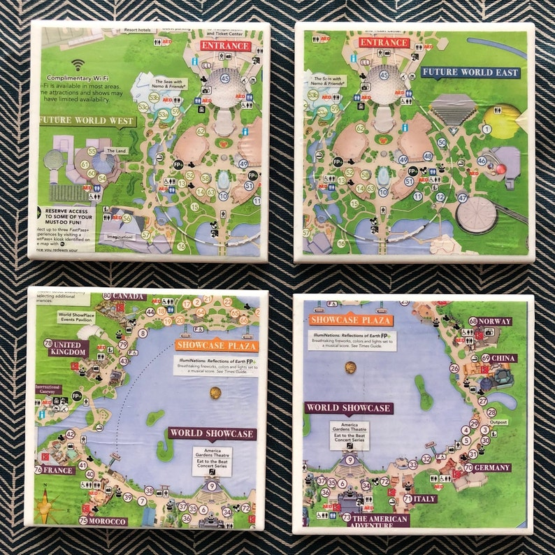 Disney Collection Epcot Map Coaster Set | Etsy on