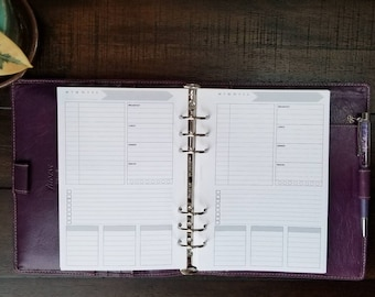 A5 Daily Printed Planner Inserts