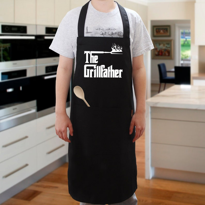 4bc8e2b5383 The Grillfather BBQ Apron Black Cooking Apron Novelty Apron