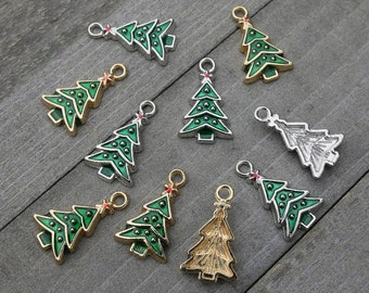 10 pieces mixed christmas tree charms gold and silver plated christmas tree charms with enamel pine tree pendant christmas charms b71501 - Christmas Charms