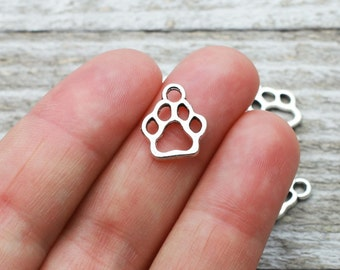 BULK 5 Pcs Mom With Paw Print Silver Stainless Steel Charm Pendants High Polish Mirror Surface Pet Canine Charms 20 mm #2166