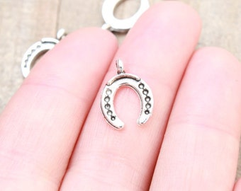 10 PIECES Horse shoe charm antique silver tone, horseshoe charm antique silver tone, horse shoe pendant, lucky charm, good luck charm B14594