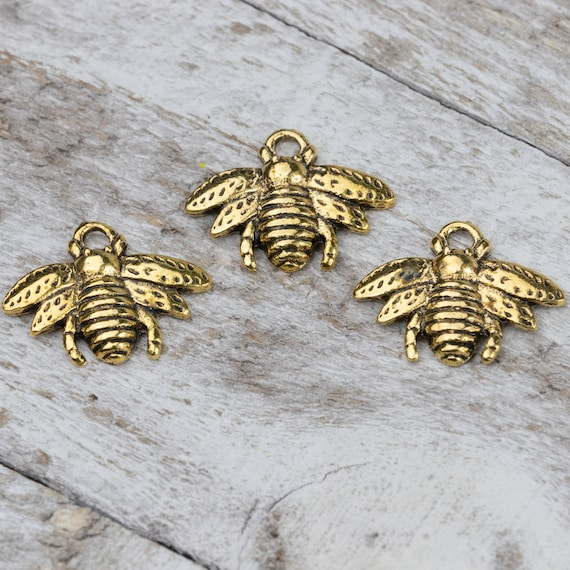 BULK Charms Bee Charms Antiqued Silver 50 pieces Wholesale Charms Bumblebee
