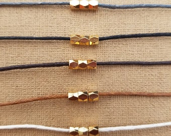 "18k gold plated bead choker, cotton cord choker, choker necklace preferred color, 14"" to 16"" long choker"
