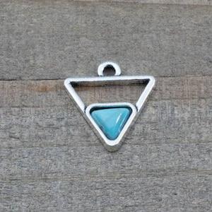 triangle pendant turquoise pendant B0083840 1 PIECE triangle pendant with turquoise imitation cabochon triangle charm bohemian pendant