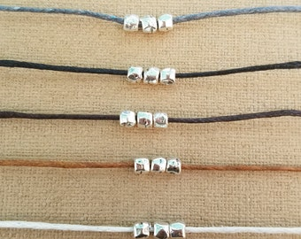 "silver plated bead choker, cotton cord choker, choker necklace preferred color, 13"" to 15"" long choker"
