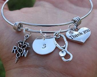 Nurse gift bracelet, Nurse apreciation bracelet, Personalised Bracelet, RN bracelet, MD bracelet, Customized Bangle Bracelet