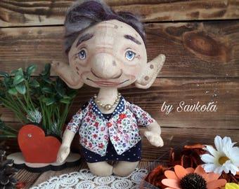 Handmade doll/Leprechaun/gnome/ little elf/fantastic character/ art doll