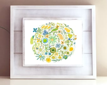 Green, Yellow, Blue Vintage Style 1960s 1970s Hand Painted Floral Watercolor Print - Retro Modern Home Office Decor