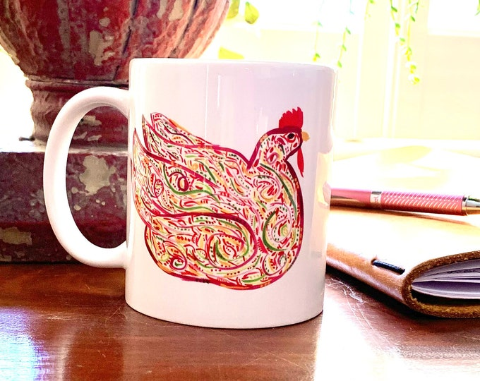 Coffee Mug With Red Chicken - Original Art Coffee Or Tea Mug - Gift For Chicken Lover