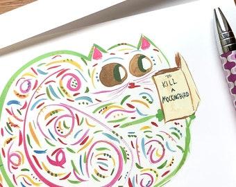 To Kill A Mockingbird Harper Lee Cat Book Lover Funny Card CUSTOM Options