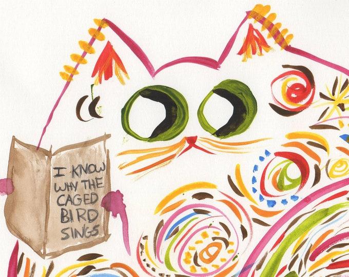 """Funny Cat Wall Art - Original Watercolor Print - Cat Read Maya Angelou - Book Lover Print - Name: """"Maya"""""""