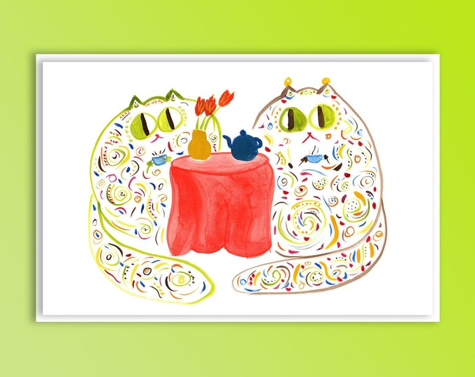 """Cat Tea Party - Original Art Card for Birthday, Mother's Day, Thank You - """"The Misses Mosses"""""""