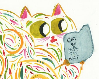 Martha cat reading Cat on a Hot Tin Roof Truman Capote print - whimsical funny librarian gift idea