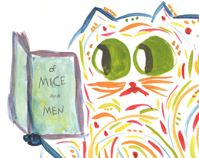 """Funny Cat Art Print - Cat Bookworm Reading Of Mice and Men - Book Lover Gift - Name: """"Roxann"""""""