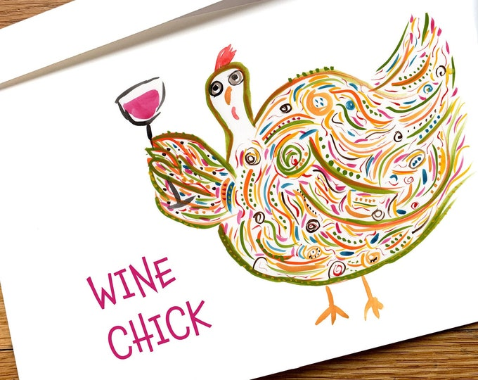 Wine Chick Funny All Occasion Chicken Card Custom Options