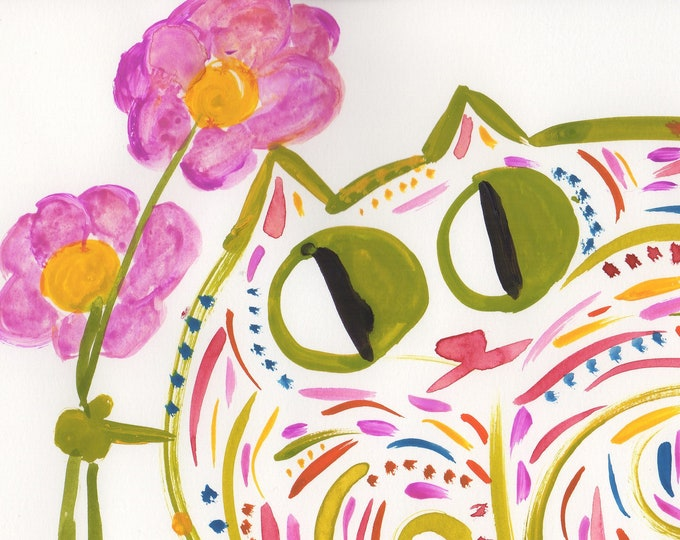 Hannah whimsical cat green animal art print