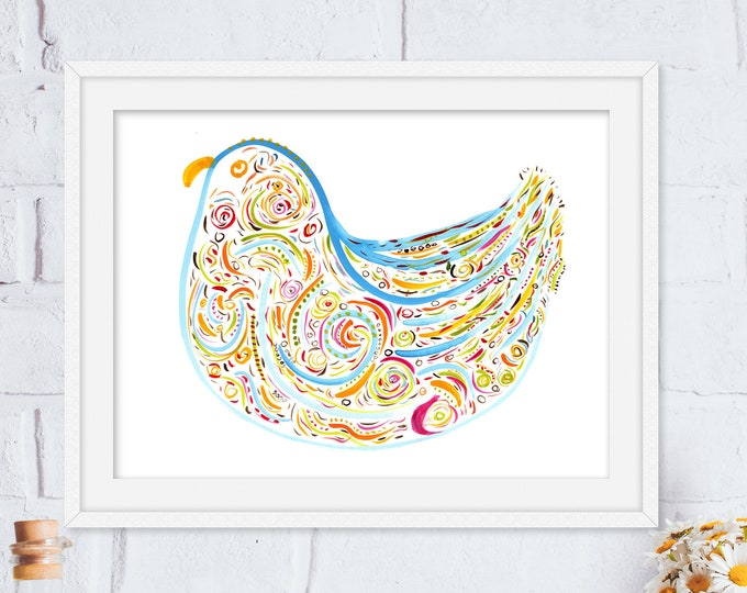 Fiona - Bluebird Print - Colorful Whimsical Watercolor Art Print - Original Art Print