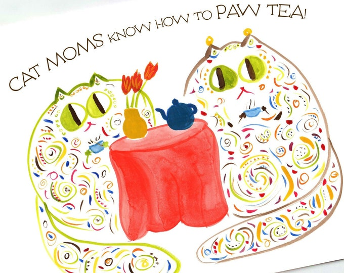"""Funny CUSTOM Cat Mom Card for Birthday, Graduation, Thank You, Retirement  - """"Misses Mosses"""" Whimsical Cat Tea Party - Large Card"""