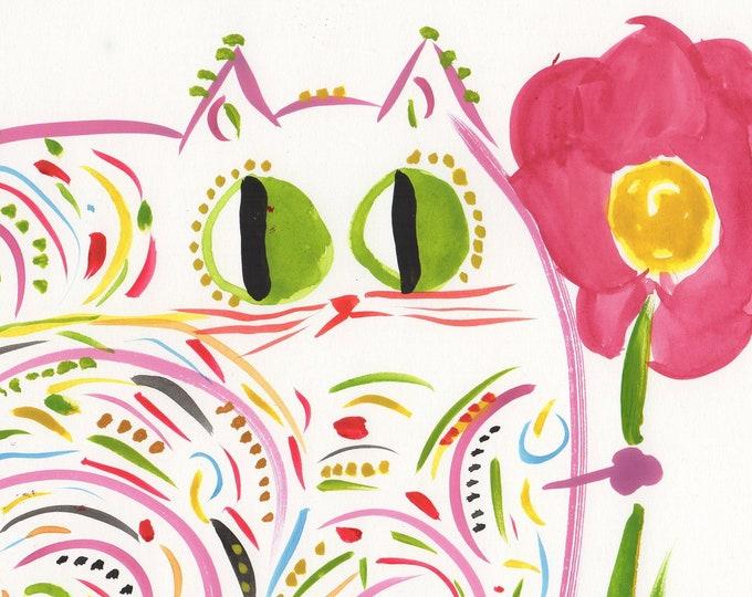 Emma whimsical cat pink animal art print