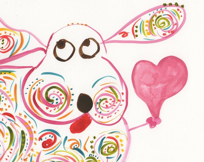 Marley whimsical dog with heart watercolor print