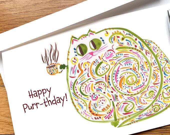 Birthday Card - Happy Purrthday - Card For Cat Lover, Coffee Or Tea Lover - Funny CUSTOM Card