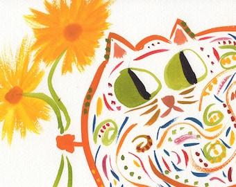 Polly whimsical cat orange animal art print
