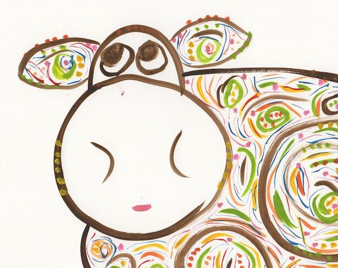 Rosie whimsical brown cow framed watercolor art print