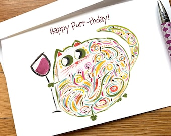 Happy Purr-thday - Cat Wine Lover Funny Birthday Card - CUSTOM Options