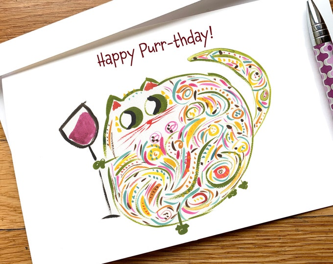 Happy Purr-thday cat wine lover funny birthday card CUSTOM options