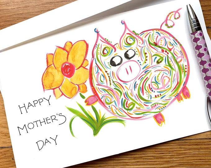 Mother's Day Card - Petunia Pig - cute, whimsical, colorful pig with heart