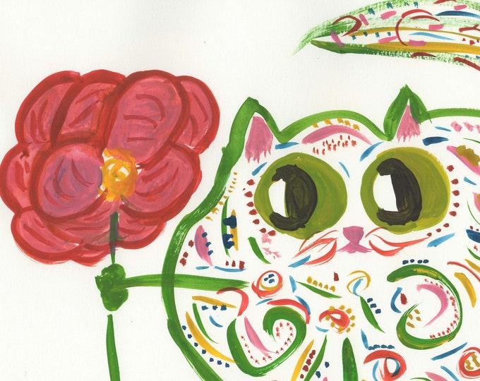 Marjorie whimsical cat green orange animal art print