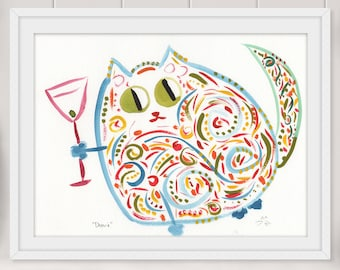 Deanie Martini Cat Print - Funny Bright Whimsical Original Watercolor Print - Cat Wall Art