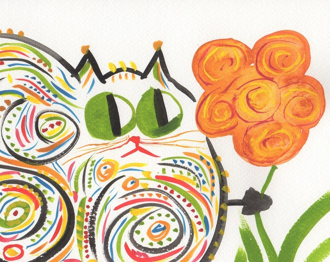 Cute Cat Art Print - Cat With Flower - Handpainted Original - Cat Wall Art - Name: Cleo