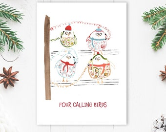 Funny Christmas Card - Four Calling Birds - Bird Lover Holiday Card - Twelve Days of Christmas Card