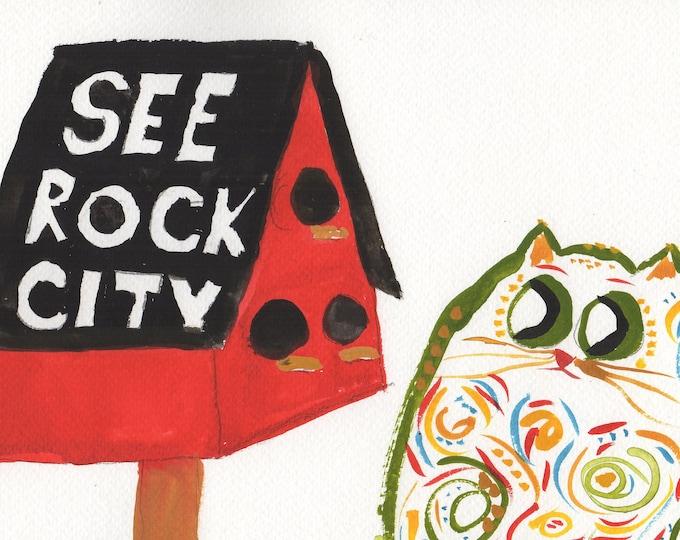 Rock City Kitty whimsical animal art print colorful home decor