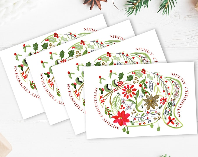 Flower Cat Christmas Card - Cat Lover Holiday - Cat Lover Merry Christmas - Set of 4 or 10