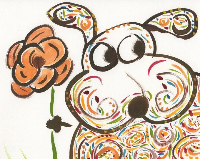 Rory dog whimsical brown orange animal art print