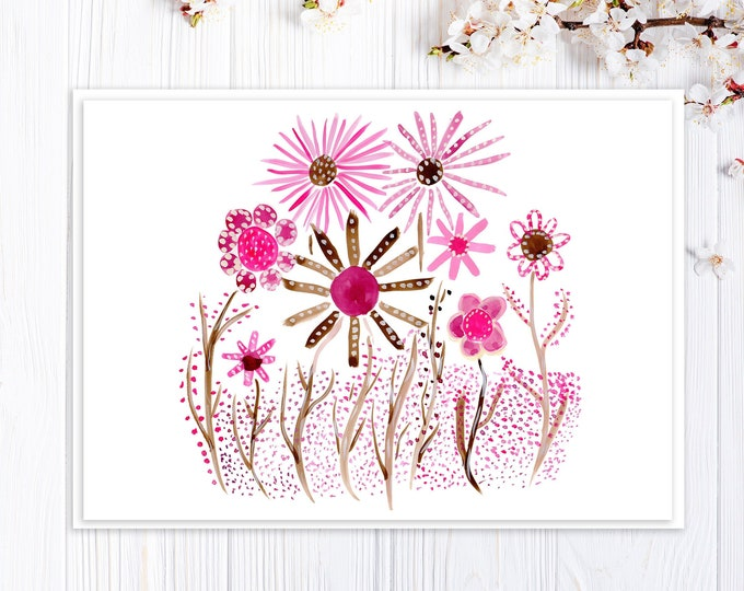 Card With Pink Flowers - Custom Options - Card for Valentine's, Mother's Day, Birthday, Thank You - Mid-Century Retro Design