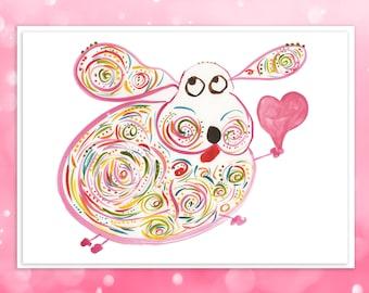 "Cute Dog Card - Custom Card for Valentine's, Birthday, Wedding - All Occasion Card - Original Whimsical Art - Name: ""Marley"""