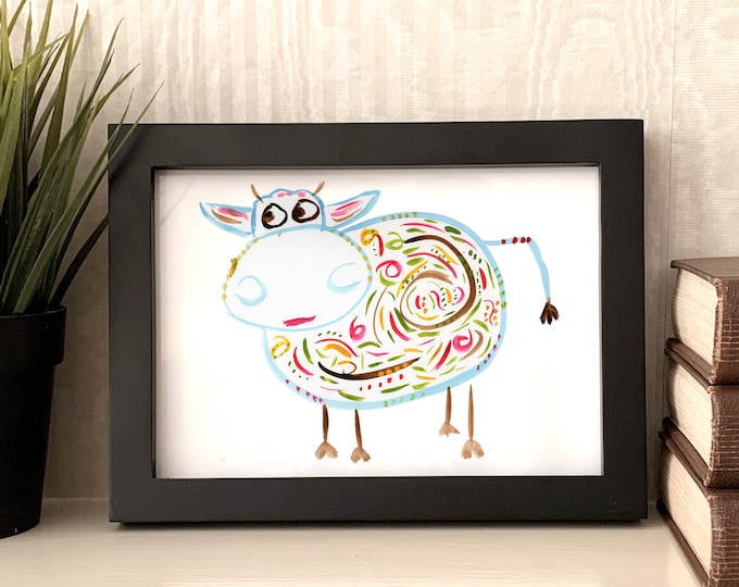 "Cow Print - Original Hand Painted Art Print - Cow Art - Watercolor Cow - Name: ""Barb"""