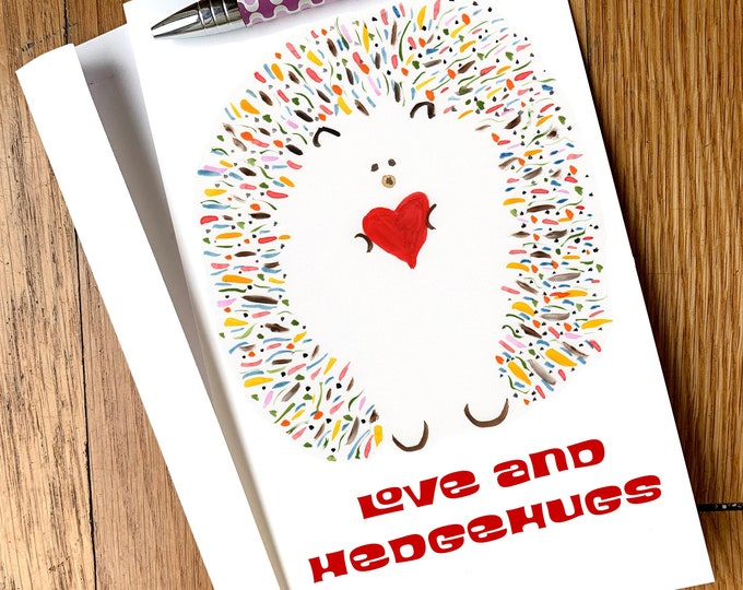 Cute Hedgehog Card - Love and Hedgehugs -Personalized Options