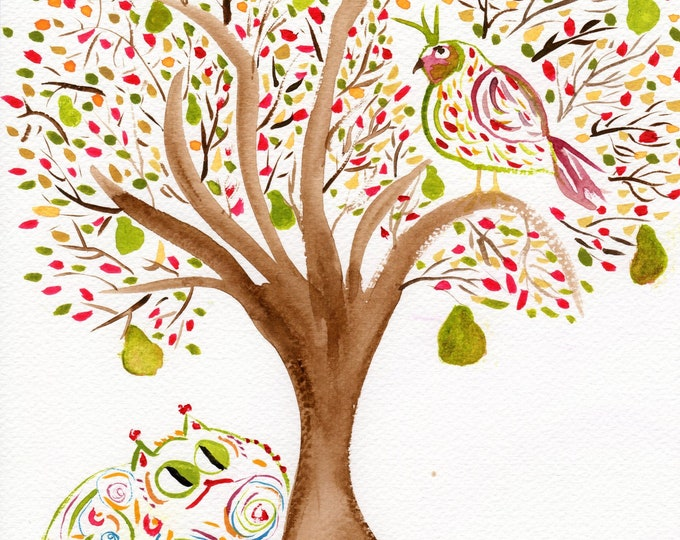 A Partridge in a Pear Tree with cat print  - contemporary fun Christmas art
