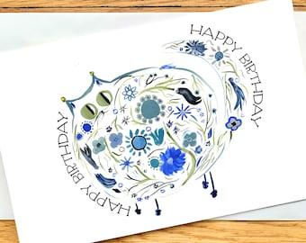 Birthday Card - Blue Retro Flower Cat - CUSTOM message
