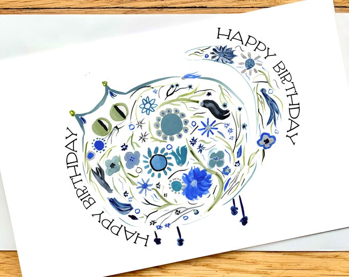 Birthday Card - Blue Retro Flower Cat - CUSTOM message