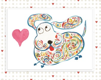 Unique Valentine's Card for Dog Lovers - Cute Blue Dog With Heart and Floppy Ears - Original Watercolor Art - Name: Buddy