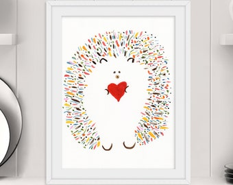 "Cute Hedgehog Print - ""Love And Hedgehugs"" - Original Art Print - Baby Shower Gift - Hedgehog Gift - Name: ""Leopold"""