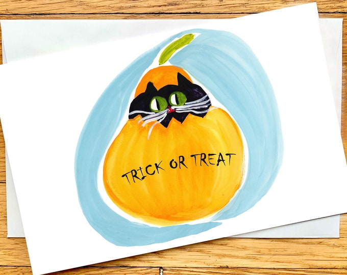 Cute Halloween Card - Custom Message - Cat Halloween Card - Pumpkin Halloween Card