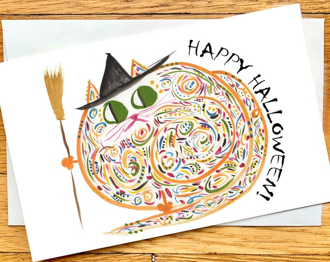 Halloween Card - Witch Cat - Original Art - Personalizable - Cute Cat Card - Cat Lover Halloween - Name: Margaret